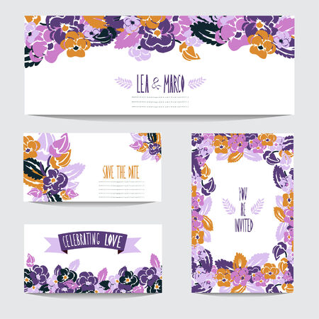Elegant cards with floral pansy bouquets, design elements. Can be used for wedding, baby shower, mothers day, valentines day, birthday cards, invitations. Vintage decorative flowers. Vector