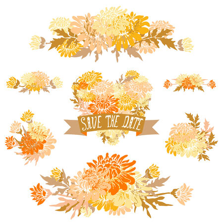 Elegant floral bouquets, design elements. Floral compositions can be used for wedding, baby shower, mothers day, valentines day cards, invitations. Vintage decorative flowers. Vector