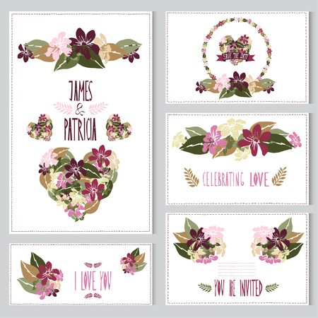 Elegant cards with stephanotis bouquets, hearts and wreath, design elements. Can be used for wedding, baby shower, mothers day, valentines day, birthday cards, invitations. Vintage decorative flowers. Vector