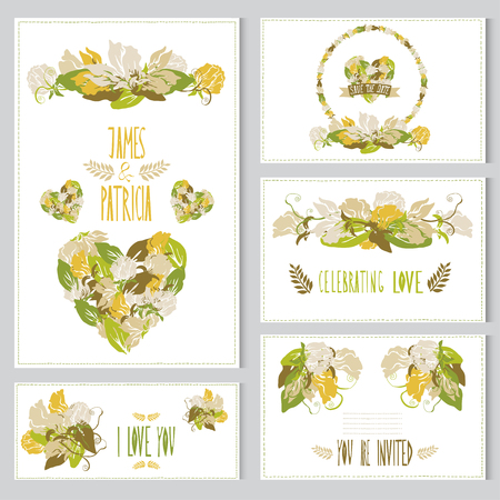 Elegant cards with sweet pea bouquets, hearts and wreath, design elements. Can be used for wedding, baby shower, mothers day, valentines day, birthday cards, invitations. Vintage decorative flowers. Vector
