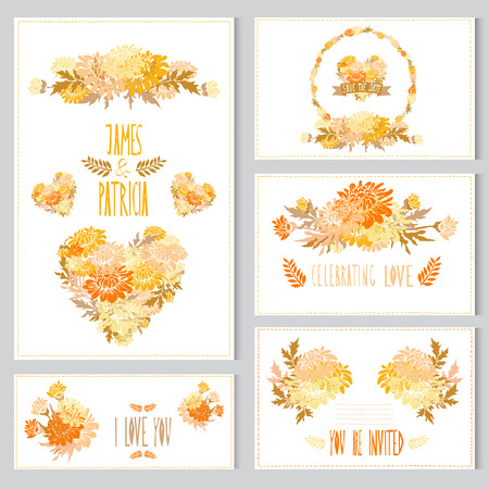 Elegant cards with chrysanthemum bouquets, hearts and wreath, design elements. Can be used for wedding, baby shower, mothers day, valentines day, birthday cards, invitations. Vintage flowers. Vector