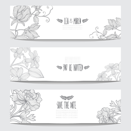 Elegant cards with floral bouquets, design elements. Can be used for wedding, baby shower, mothers day, valentines day, birthday cards, invitations. Vintage decorative flowers. Vector