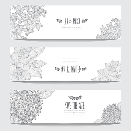 Elegant cards with floral bouquets, design elements. Can be used for wedding, baby shower, mothers day, valentines day, birthday cards, invitations. Vintage decorative flowers.