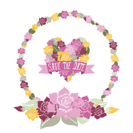 Elegant floral frame with heart and save the date banner, design elements. Can be used for wedding, baby shower, mothers day, valentines day, birthday cards, invitations. Vintage decorative flowers.