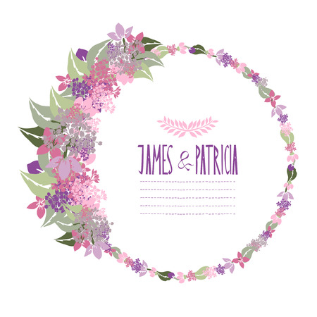 Elegant floral lilac frame, design element. Can be used for wedding, baby shower, mothers day, valentines day, birthday cards, invitations. Vintage decorative flowers. Vector