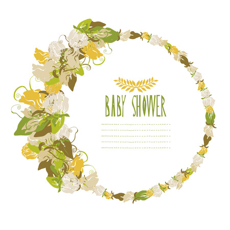 Elegant floral sweet pea frame, design element. Can be used for wedding, baby shower, mothers day, valentines day, birthday cards, invitations. Vintage decorative flowers. Vector