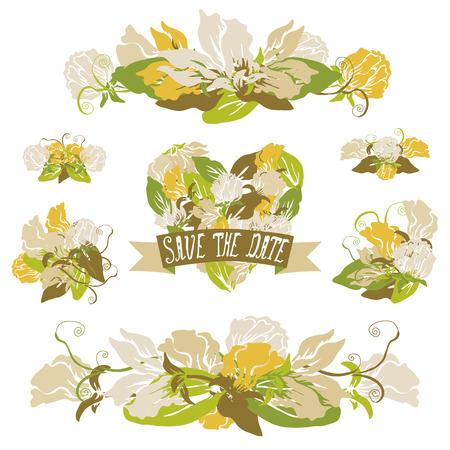 ramos florales elegantes elementos de diseo composiciones florales se pueden utilizar para la boda - Composiciones Florales