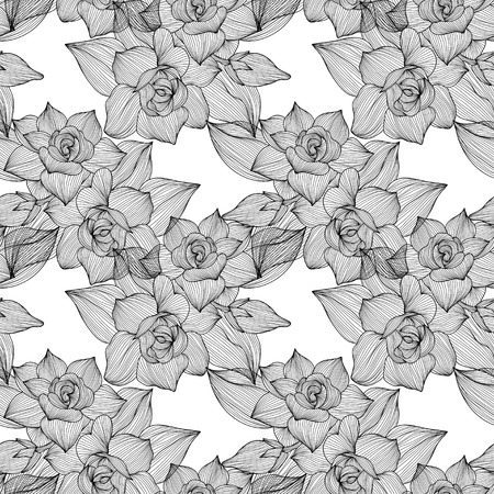 Elegant seamless pattern with hand drawn decorative gardenia flowers, design elements.