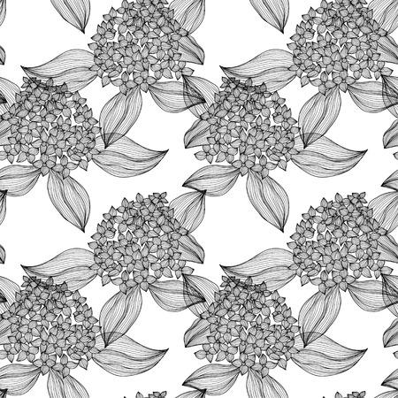 Elegant seamless pattern with hand drawn decorative hydrangea flowers, design elements. Vector
