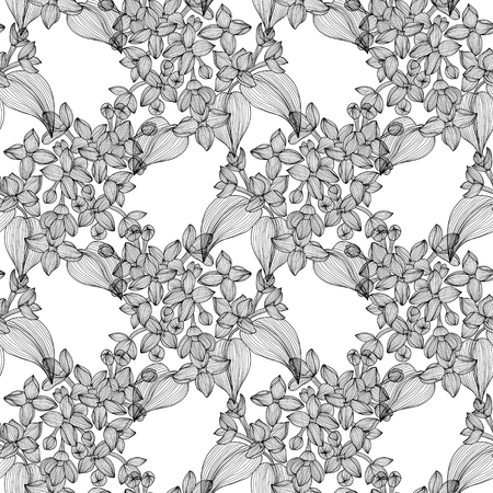 Elegant seamless pattern with hand drawn decorative lilac flowers, design elements. Vector