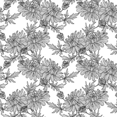 Elegant seamless pattern with hand drawn decorative chrysanthemum flowers, design elements. Vector