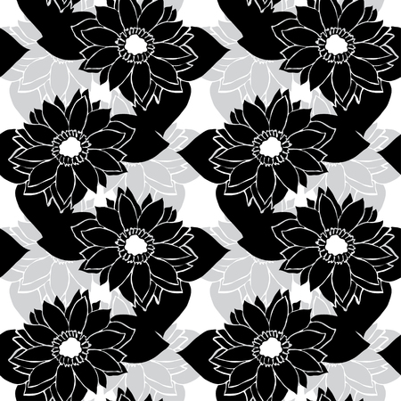 Elegant seamless pattern with hand drawn decorative sunflowers, design elements.  Vector