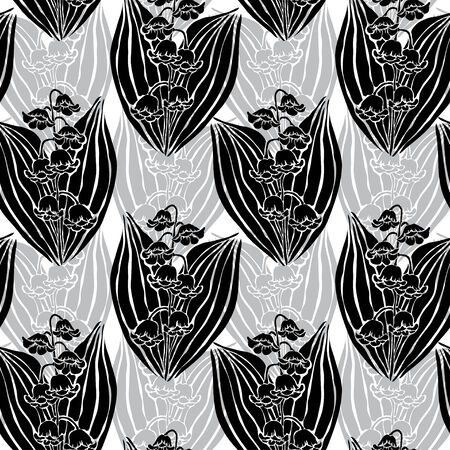 Elegant seamless pattern with hand drawn decorative lily flowers, design elements. Vector