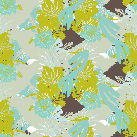 Elegant seamless pattern with hand drawn decorative hibiscus flowers, design elements. Vector