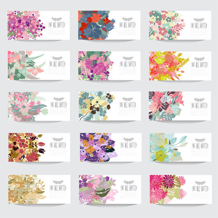 15 elegant cards with floral bouquets, design elements. Can be used for wedding, baby shower, mothers day, valentines day, birthday cards, invitations. Vintage decorative flowers. Vector