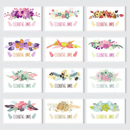 12 elegant cards with floral bouquets, design elements. Can be used for wedding, baby shower, mothers day, valentines day, birthday cards, invitations. Vintage decorative flowers. Vector
