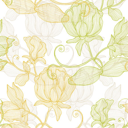 sweet pea: Elegant seamless pattern with hand drawn decorative sweet pea flowers, design elements.  Illustration
