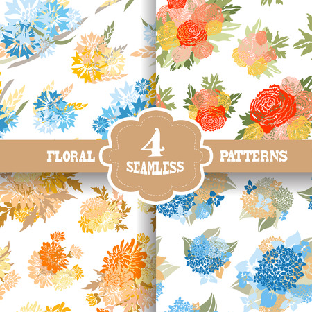Elegant seamless patterns with hand drawn decorative flowers, design elements.  Vector
