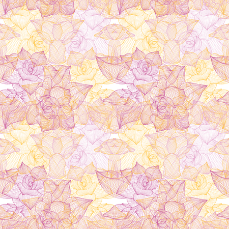 Elegant seamless pattern with hand drawn decorative gardenia\ flowers, design elements.