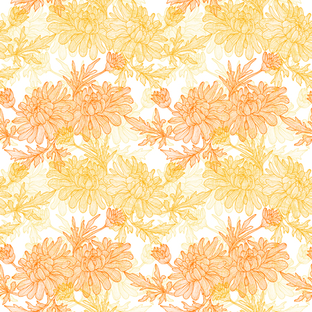 Elegant seamless pattern with hand drawn decorative chrysanthemum flowers, design elements.  Vector