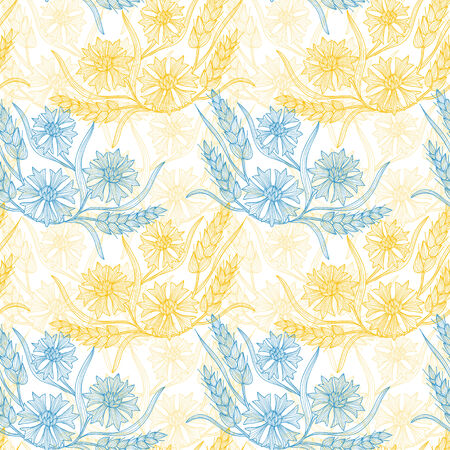 Elegant seamless pattern with hand drawn decorative cornflowers and wheat, design elements.  Vector