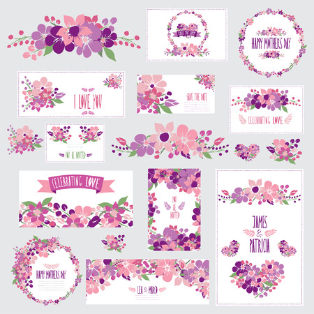 Elegant cards with floral bouquets, hearts and wreath, design elements.  Vector