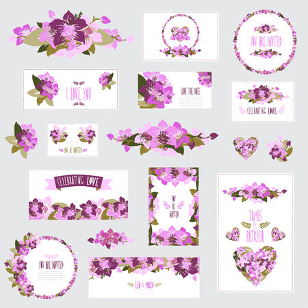 Elegant cards with floral orchid bouquets and wreath, design elements.  Vector
