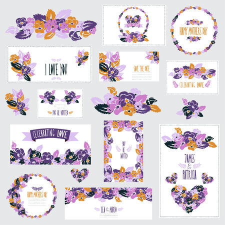 Elegant cards with floral pansy bouquets, hearts and wreath, design elements. Vector