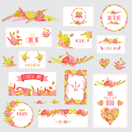 Elegant cards with floral poppy bouquets, hearts and wreath, design elements. Vector