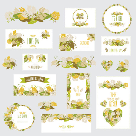 Elegant cards with floral sweet pea bouquets and wreath, design elements.  Vector