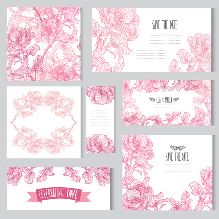 Elegant cards with floral rose bouquets, design elements. Can be used for wedding, baby shower, mothers day, valentines day, birthday cards, invitations. Vintage decorative flowers.