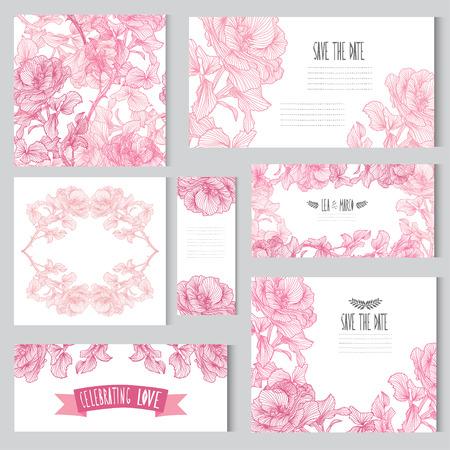 lazo rosa: Tarjetas con flores elegantes subieron ramos, elementos de diseño. Puede ser utilizado para la boda, baby shower, día de madres, día de san valentín, tarjetas de cumpleaños, invitaciones. Flores decorativas de la vendimia. Vectores
