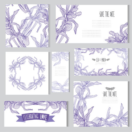 Elegant cards with floral iris bouquets, design elements. Can be used for wedding, baby shower, mothers day, valentines day, birthday cards, invitations. Vintage decorative flowers. Vector