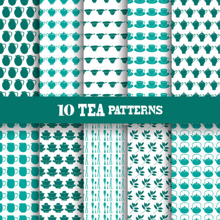 tea ceremony: Elegant seamless patterns with tea ceremony components, design elements. Can be used for invitations, greeting cards, scrapbooking, print, gift wrap, manufacturing. Tea theme