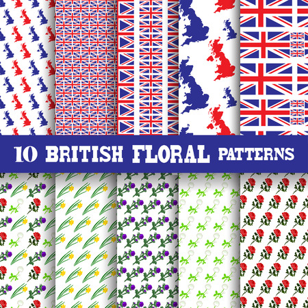 principal: Elegant seamless patterns with principal floral symbols of United Kingdom of Great Britain and Northern Ireland, design elements. Can be used for invitations, greeting cards, scrapbooking, gift wrap