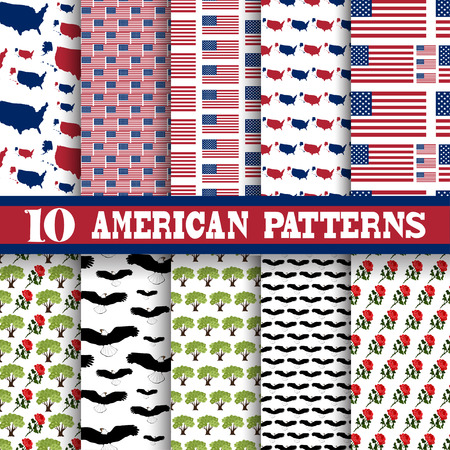 principal: Elegant seamless patterns with principal symbols of United States Of America, flag and map, design elements. Can be used for invitations, greeting cards, scrapbooking, print, gift wrap.