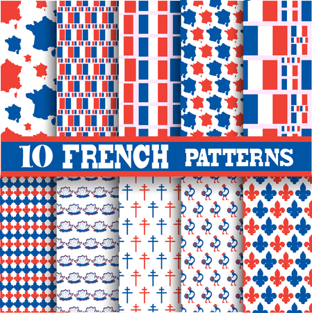 Elegant seamless patterns with principal symbols of French Republic, map and flag, design elements. Can be used for invitations, greeting cards, scrapbooking, print, gift wrap, manufacturing. Illustration