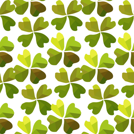 Elegant seamless pattern with hand drawn decorative geometric clovers, design elements. Floral pattern for invitations, greeting cards, scrapbooking, print, wrap, manufacturing. St Patricks day theme Vector