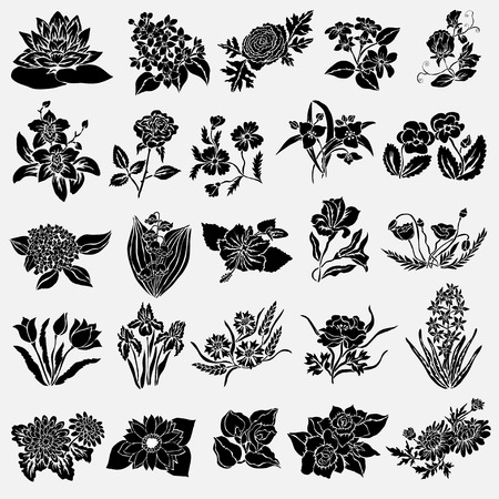 25 우아한 꽃 장식, 디자인 요소입니다. 꽃 분기합니다. 빈티지 웨딩 초대장, 인사말 카드, 배너의 꽃 장식.
