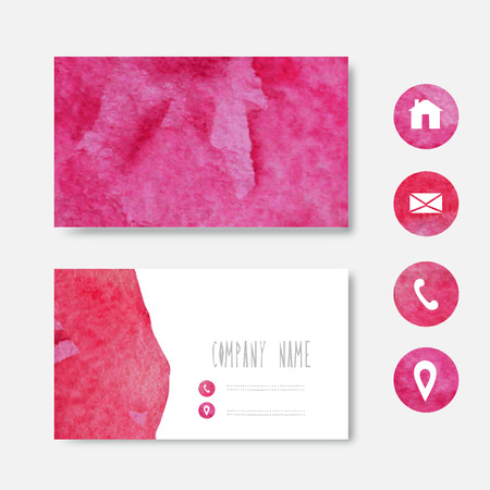 Watercolor pink business card template design element can be vector watercolor pink business card template design element can be used also for greeting cards banners invitations vectorized watercolor background wajeb Choice Image
