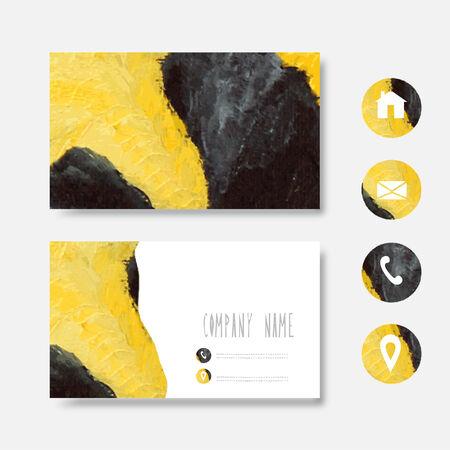 vectorized: Oil painted yellow black business card template, design element. Can be used also for greeting cards, banners, invitations. Vectorized watercolor background Illustration