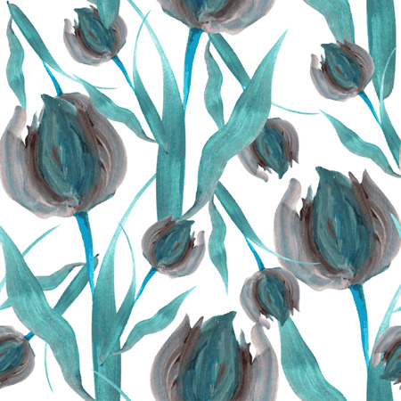 Elegant seamless pattern with oil painted blue tulip flowers, design elements. Floral pattern for wedding invitations, greeting cards, scrapbooking, print, gift wrap, manufacturing Vector
