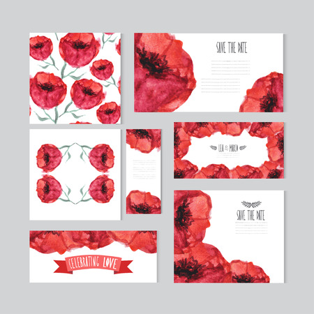 Elegant watercolor red floral cards, design elements. Can be used for wedding, baby shower, mothers day, valentines day, birthday cards, invitations, banners, flyers, gift wrap, print, manufacturing Vector