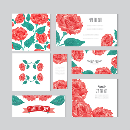 Elegant oil painted red roses cards, design elements. Can be used for wedding, baby shower, mothers day, valentines day, birthday cards, invitations, banners, flyers, gift wrap, print, manufacturing Vector