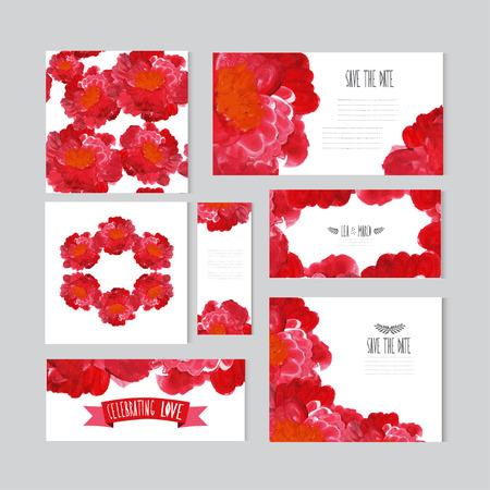 cadeaupapier: Elegant olie geschilderde rode rozen kaarten, design elementen. Kan gebruikt worden voor het huwelijk, baby douche, moeders dag, Valentijnsdag, verjaardagskaarten, uitnodigingen, banners, flyers, cadeaupapier, print, fabricage Stock Illustratie
