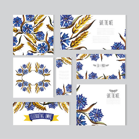 Elegant watercolor cornflowers and wheat floral cards, can be used for wedding, baby shower, mothers day, valentines day, birthday cards, invitations, banners, flyers, gift wrap, print, manufacturing Vector