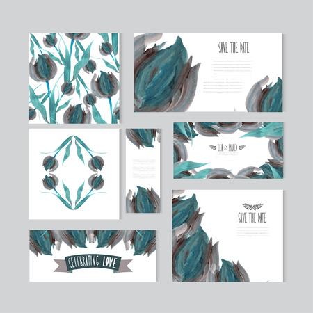 cadeaupapier: Elegante olie geschilderde blauwe tulp kaarten, design elementen. Kan gebruikt worden voor het huwelijk, baby shower, moederdag, Valentijnsdag, verjaardagskaarten, uitnodigingen, banners, flyers, cadeaupapier, print, productie
