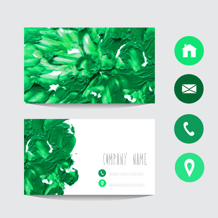 Oil painted green business card template design element can oil painted green business card template design element can be used also for greeting friedricerecipe Images
