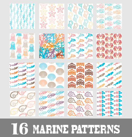 Elegant marine seamless patterns with decorative sea life representatives, design elements. Can be used for invitations, greeting cards, scrapbooking, print, gift wrap, manufacturing. Summer theme Vector