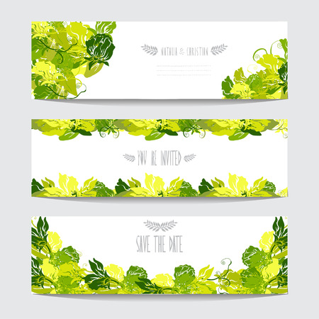 Elegant cards with sweet pea flowers, design elements. Can be used for wedding, baby shower, mothers day, valentines day, birthday cards, invitations. Floral banners. Vintage decorative flowers Vector